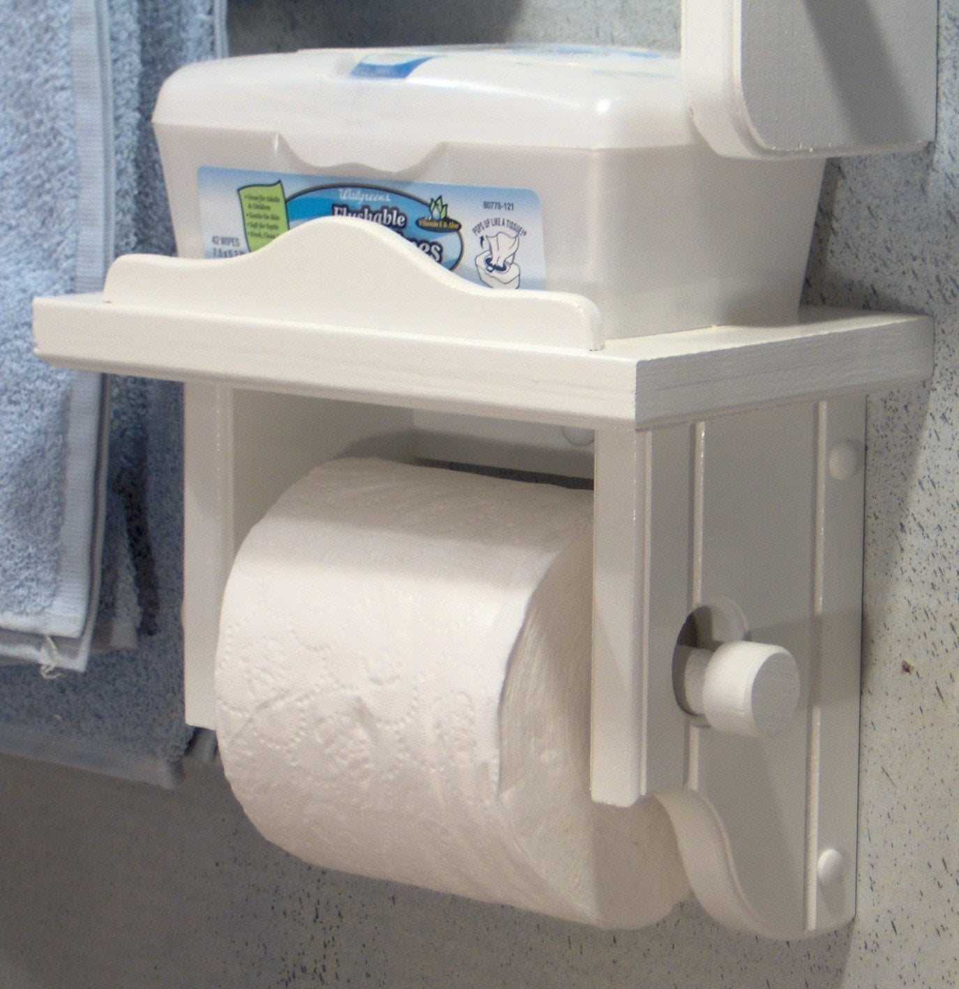 White toilet paper holder with shelf Wood toilet paper holders