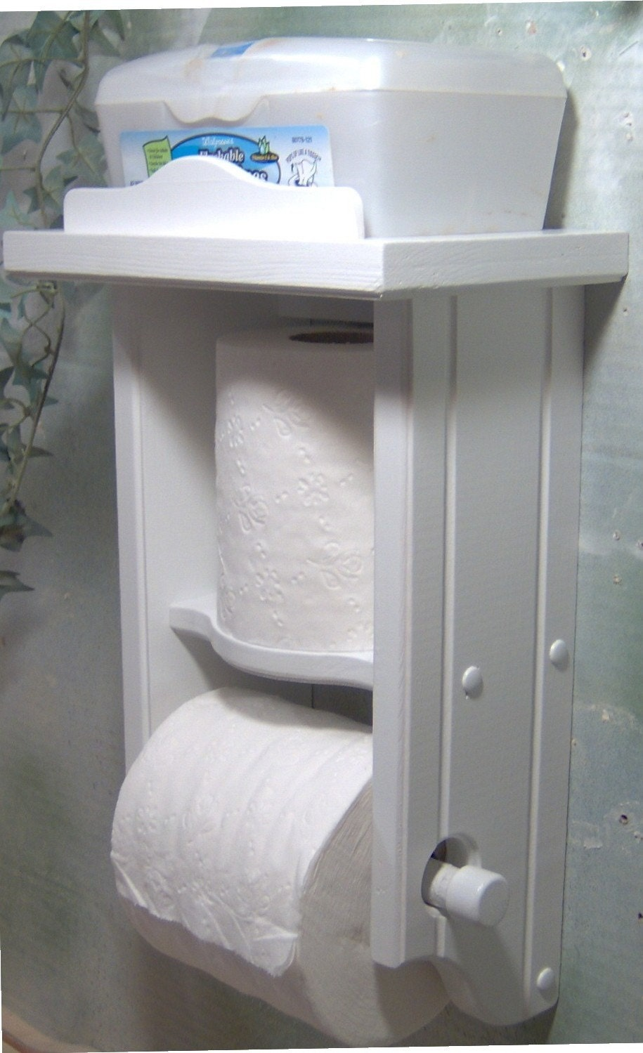 White Toilet Paper Holder Extra Roll With Shelf