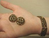 RESERVED For Tania 50's Vintage Coro Gold Tone Flower Link Bracelet with Matching Earrings