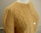 A Taste Of Honey Vintage 1960's Hand Knit Wool Cable Knit Cardigan Sweater