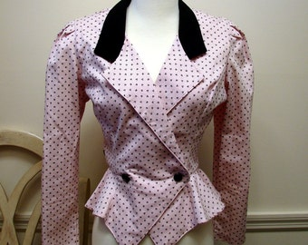 Vintage 1980's By Choice Pink and Black Shirt Jacket  Size 11