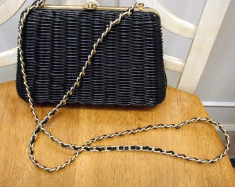 Vintage 1960's  Wicker Handbag with Chain Shoulder Strap
