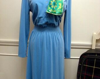 Vintage 1970's Blue Velour Leslie Fay Elastic Waist Dress Size 16