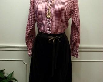 Vintage 70s Brown Velveteen Dirndl Skirt Size 16