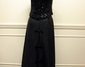 Southern Belle Vintage 50s 60s Black Taffeta Full Length Formal Skirt