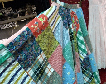 Vintage 50's 60's Quilt Swing Skirt Multi Colors Size Small