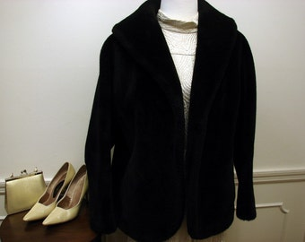 Vintage 50's Black Faux Fur by Fairmoor Crop Jacket with Shawl Collar FREE US SHIPPING