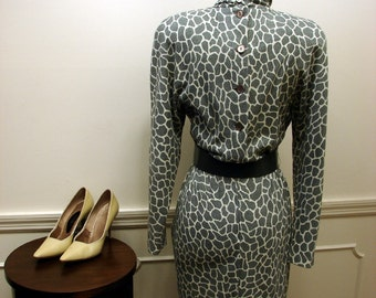 Vintage 80's Giraffe Print Long Sleeve Dress by Expo Size 4
