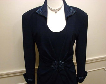 Vintage 80s Special Occasion Dress in Navy Blue Beaded Size 8 by Daymor Couture