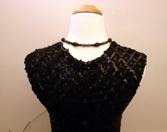 Vintage 1960s Vintage Black Sequin Silk Shell Top