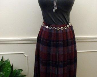 Vintage 1980's Size 6 Jones Of New York Lavender Plaid Pleated Wool Skirt
