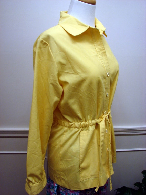 Vintage 60's70's Yellow Lightweight Shirt Jacket by Koret Of California Size 10