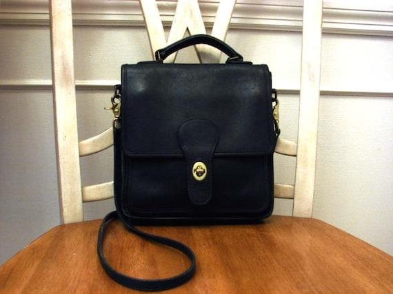 RESERVED Vintage 70's Black Saddle Leather COACH Cross Body Messager Bag