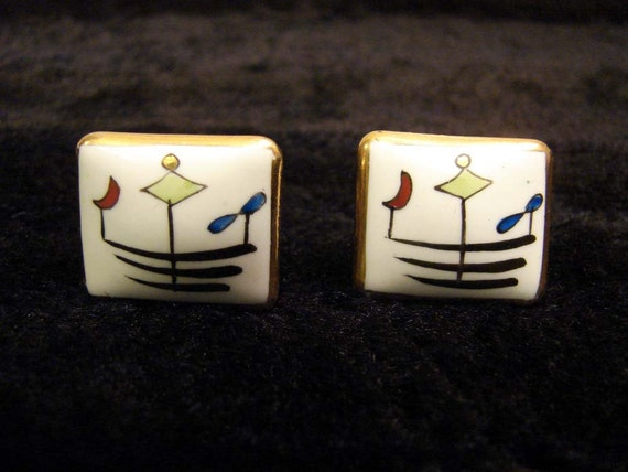 RESERVED Vintage Victoria Fleming NY 50s 60s Handcrafted Porcelian in Brass Modernist Square Cufflinks