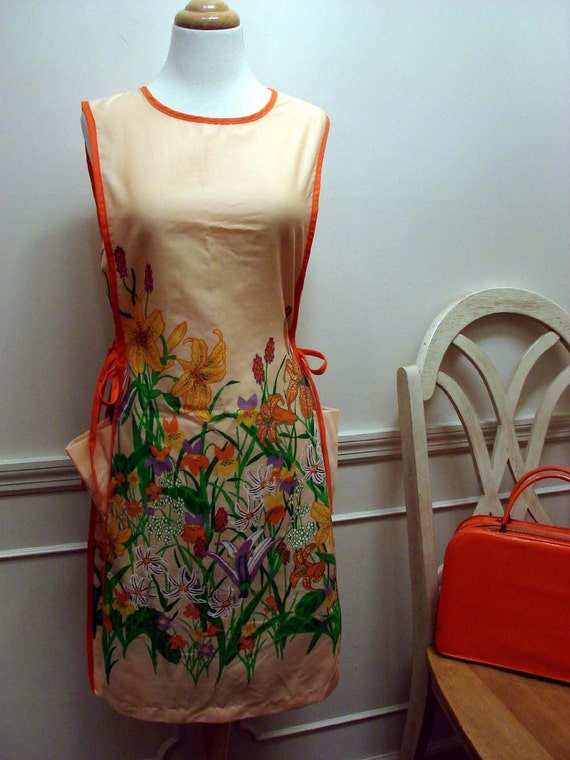 Vintage 70s Orange Flowered Day Dress Size Small by Impression