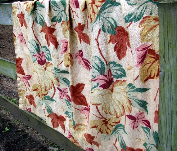 Vintage 40s Tan and Multi Colored Flowered Barkcloth Panels