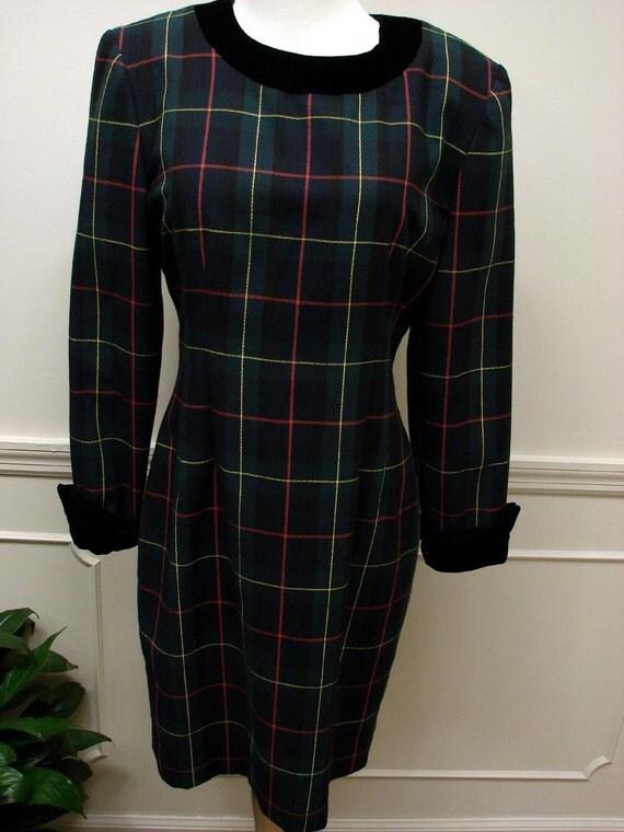 Vintage 1980's Size 4 Plaid Dress By Gantos
