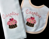 Personalized Baby Bib and Burpcloth Set with Cupcake Design / Any Color