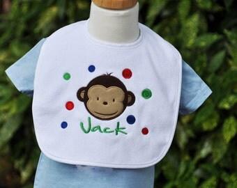 Personalized Monkey Girl or Boy Baby Bib