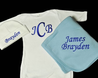 Monogrammed Baby Gown Hat and Blanket Set