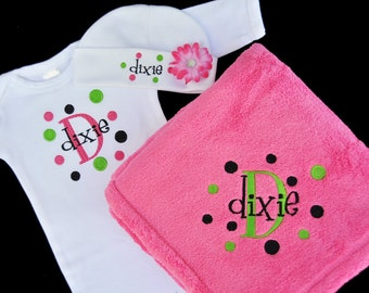 Personalized Baby Gown Hat and Blanket Set / 3 Piece Set with Flower