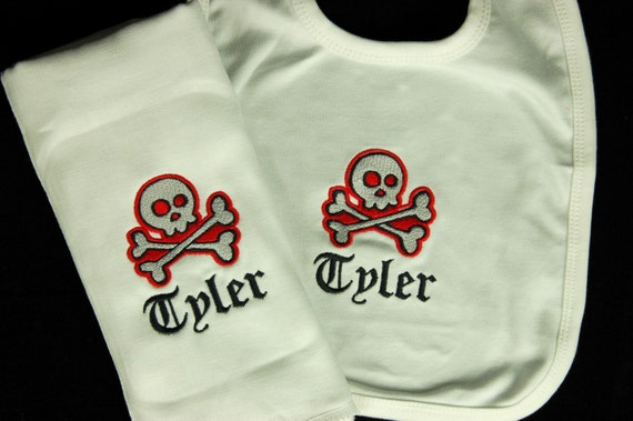 Personalized Skull Baby Burp Cloth and Bib Combo Set