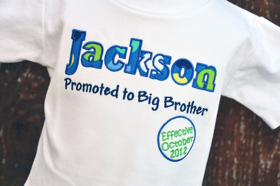 Boys Pregnancy Announcement Shirt - Big Brother Shirt - Big Brother Promotion - Pregnancy Reveal Shirt - Personalized - Baby Announcement