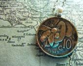 Vintage Pre-War Italian Copper Honey Bee Coin Pendant Necklace No Chain