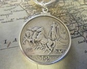 Sterling Silver Toggle Necklace with Vintage Italian Neo-Roman Lire Silver Coin
