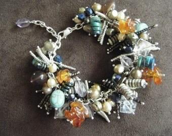 Cluster Bracelet with Freshwater Pearls, Amethyst, Quartz Crystal, Lapis