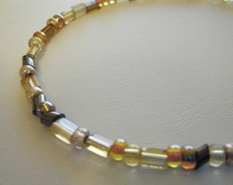 Mixed Color Beaded Anklet of Gold, Peach, Taupe, Frosted White