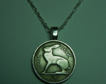 Ireland 3 Pence Hare Rabbit Vintage Coin Pendant Chain not included