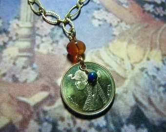 Egyptian Brass Cleopatra Golden Coin Lapis Azurite and Carnelian Beaded Dangle Necklace