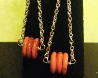 Orange Turquoise Heishi Swag Sterling Silver Long Earrings