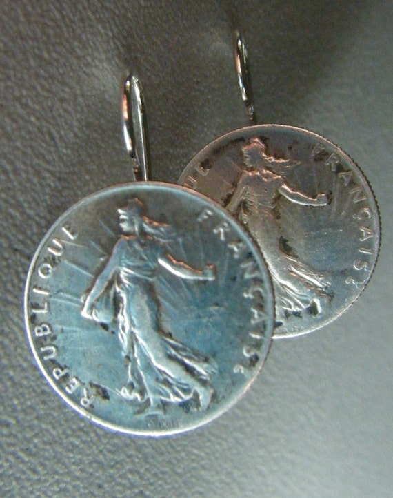 Vintage Silver French 50 Centimes Coin Earrings