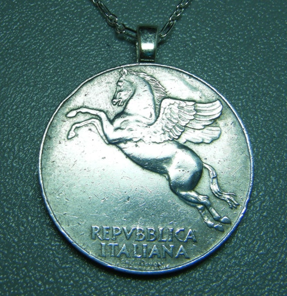 Pegasus Coin 10 Lire Aluminum Silver Pendant Necklace with Sterling Silver Chain with Free Charm of Your Choice