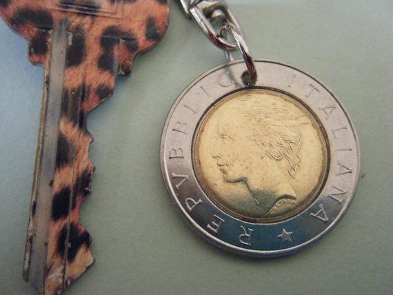 Italian Mercury 500 Lire Bronze and Steel Coin Keychain For Men and Women