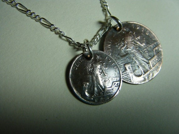 Vintage Italian Copper Double Coin Charm Pendant Necklace