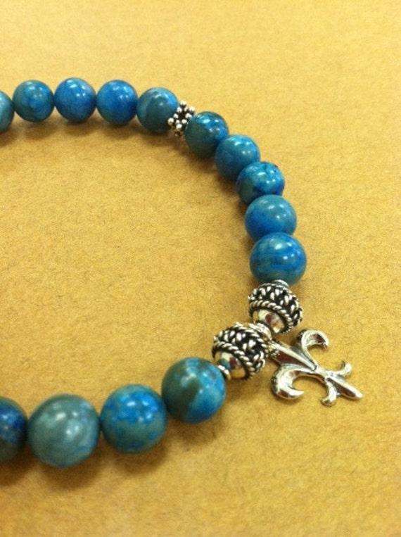 Aqua Teal Blue Lace Agate Sterling Silver Fleur De Lis Sterling Silver Charm Bracelet