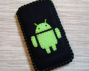 Android Phone Case Classic Black and Green Felt READY TO SEND