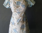 1960's floral chiffon baby-doll mini dress size SMALL