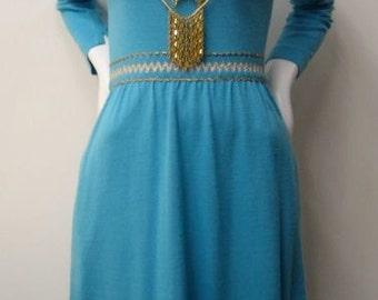 1960's blue mod mini dress with metallic Missoni style chevron print trim size SMALL