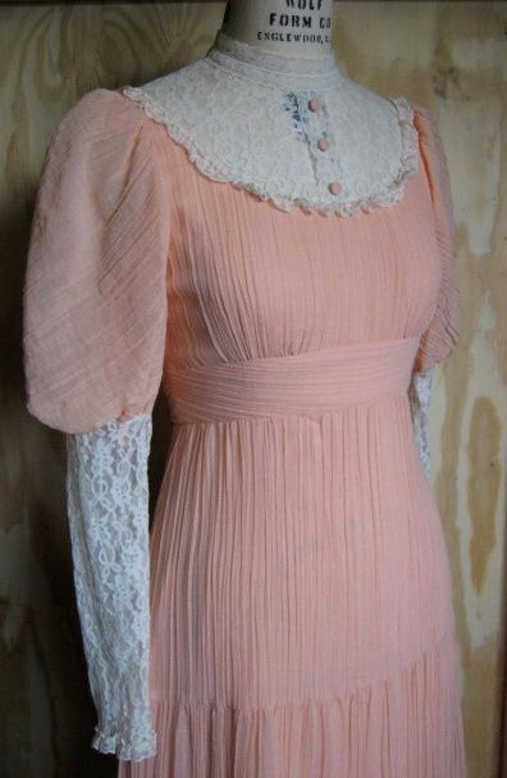 1970's gauze prairie dress with a lace bodice and mutton sleeves size SMALL/MEDIUM