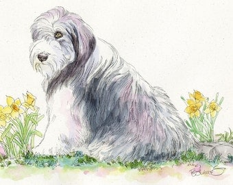 TIBETAN TERRIER Original Watercolor on Ink Print Matted 11x14 Ready to Frame