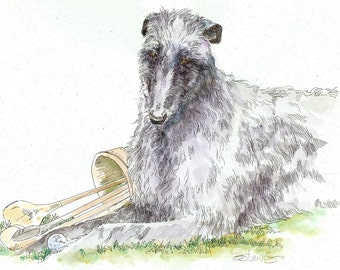 SCOTTISH DEERHOUND Original Watercolor on Ink Print Matted 11x14 Ready to Frame