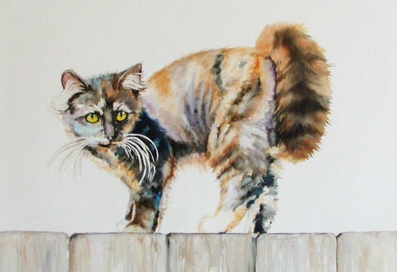 CUSTOM CAT PORTRAITS Matted 16x20in Image 10x13in Watercolor or Pastel Art