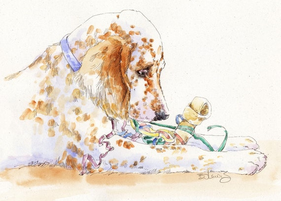ENGLISH SETTER Party Girl Original Watercolor on Ink Print Matted 11x14 Ready to Frame