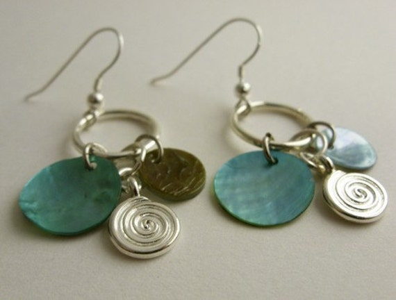 Crazy Moon - earrings with green dyed shells, metal charms. Free shipping in the US.