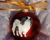 Japanese Chin Dog Hand Painted Christmas Ornament - Can Be Personalized with Name