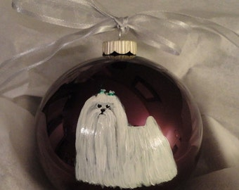 Maltese Dog Hand Painted Christmas Ornament - Can Be Personalized with Name